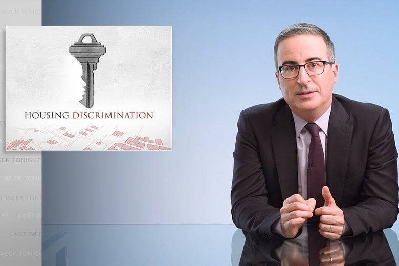 John Oliver discussing housing discrimination in front of a light blue background