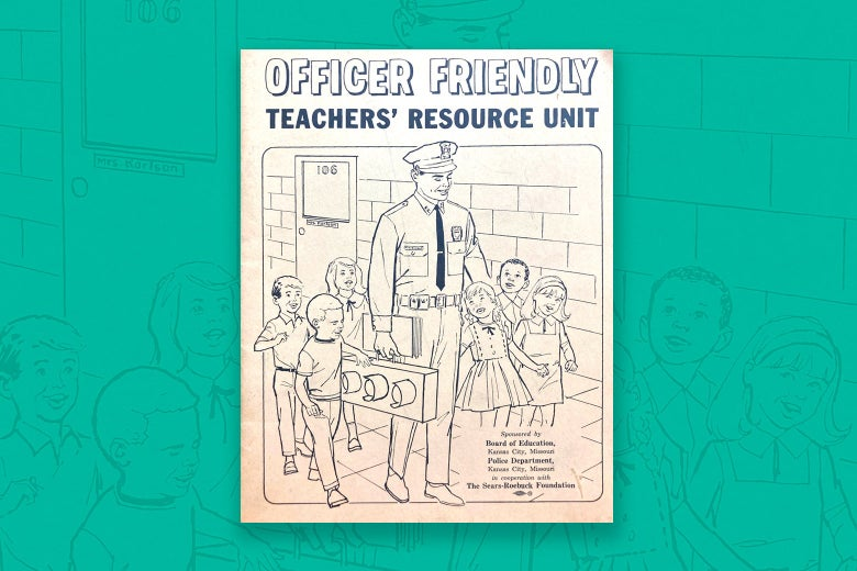 The cover of Officer Friendly Teacher's Resource Unit booklet from 1968 seen over an enlarged, slightly faded version of the same cover.