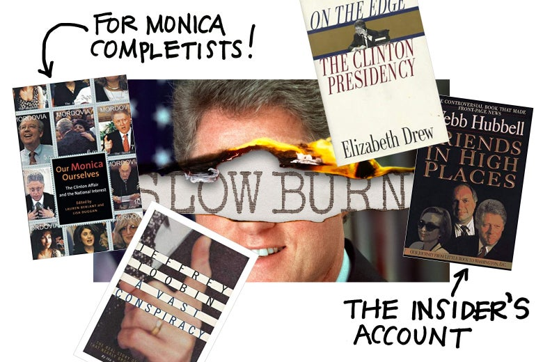 Collage of books about Clinton.