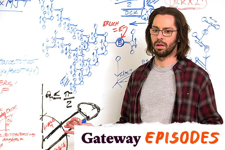 Martin Starr as Gilfoyle, standing in front of a whiteboard covered in hand-drawn sketches of tip-to-tip efficiency.