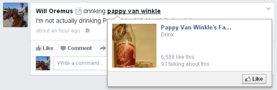Facebook emoji links to Pappy Van Winkle's Facebook page