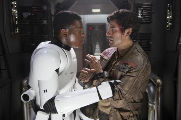 John Boyega and Oscar Isaac in The Force Awakens.