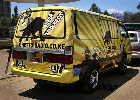 The Ghetto Radio van in Nairobi, Kenya.