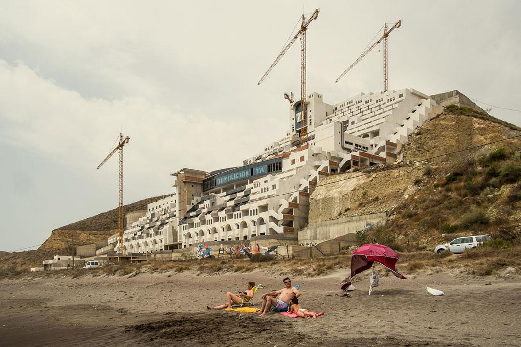 "CARBONERAS, ALMERÍA, SPAIN - AUGUST 08 2012:  hotel ""El Algarrobico"" was built in a protected Natural Park with the complicity of local authorities. Popular activism and the pressure made by Greenpeace stopped the project, although after a decade of legal activity it has not yet been demolished. Many among the local population would rather keep the hotel and have some tourism income. Photo by Carlos Spottorno / Getty Images"
