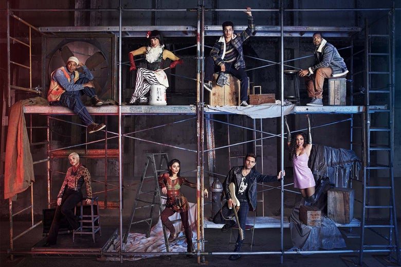 Top L-R to Bottom L-R: Brandon Victor Dixon as Tom Collins, Valentina as Angel Dumont Schunard, Jordan Fisher as Mark Cohen, Mario as Benjamin Coffin III, Kiersey Clemons as Joanne Jefferson, Vanessa Hudgens as Maureen Johnson, Brennin Hunt as Roger Davis, and Tinashe as Mimi Marquez.