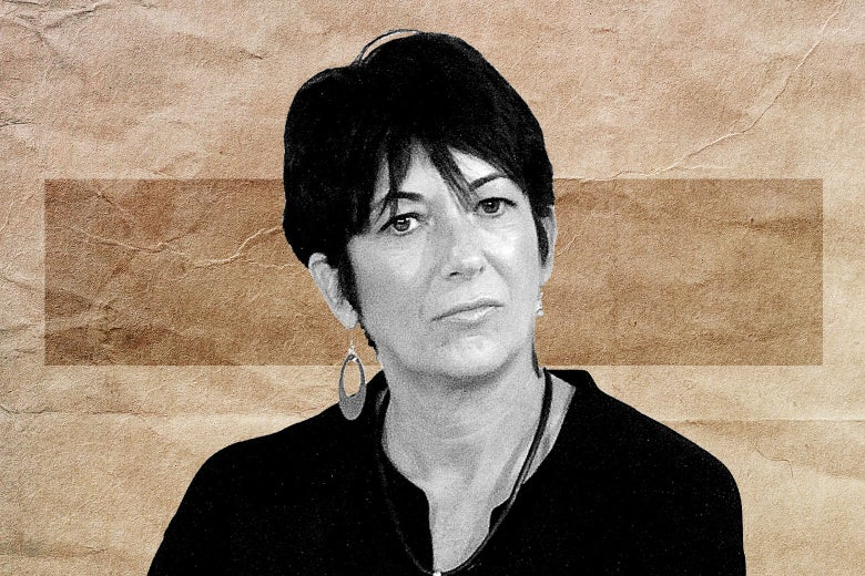 A solemn Ghislaine Maxwell against the backdrop of crumbled brown paper.