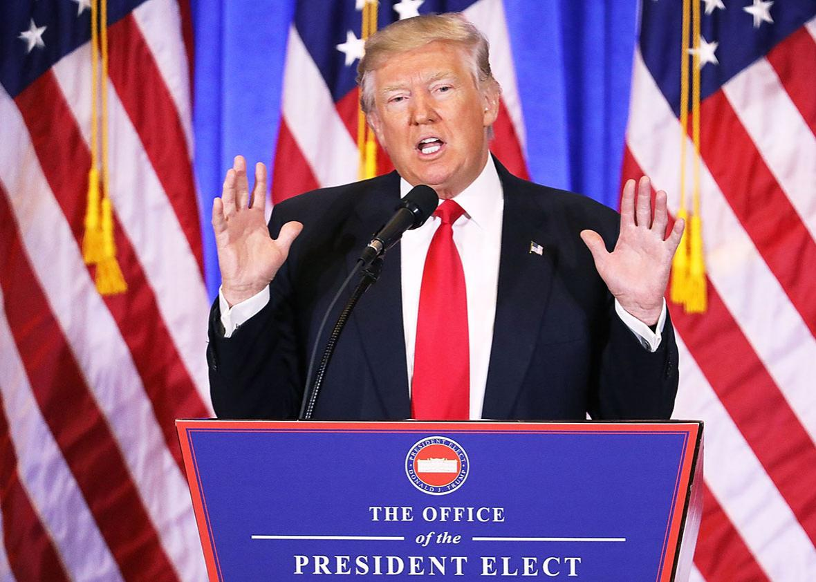 President-elect Donald Trump speaks at a news cenference at Trump Tower  on January 11, 2017 in New York City.