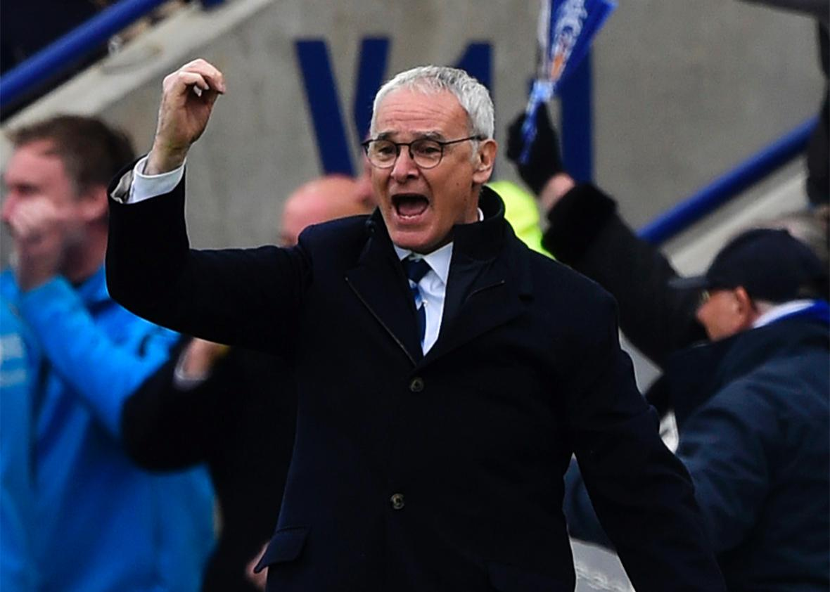 Claudio Ranieri manager of Leicester City celebrates during the Barclays Premier League match between Leicester City and Swansea City at The King Power Stadium on April 24, 2016 in Leicester, United Kingdom.