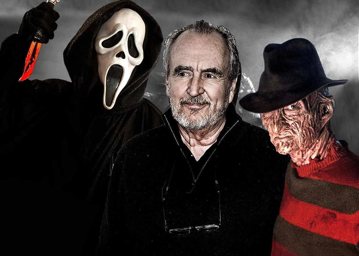 The Scream movie masked killer, director Wes Craven, and Freddy