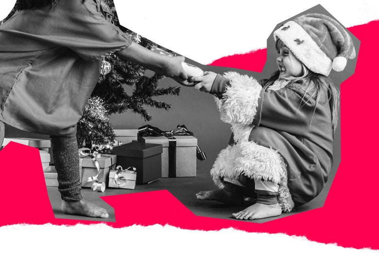 Photo illustration of two children engaging in tug of war over a present.