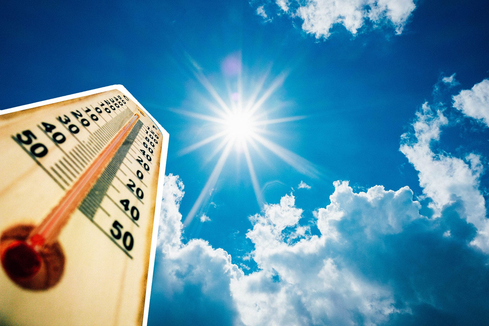 The mercury in a thermometer rises up under the beating sun.