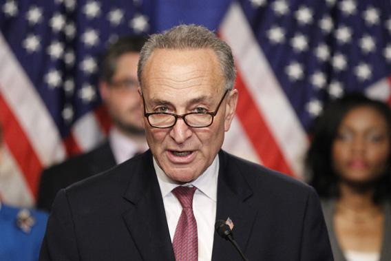 U.S. Senator Chuck Schumer, part of the U.S. Senate's Gang on Eight, speaks during a news briefing on Capitol Hill in Washington, April 18, 2013.