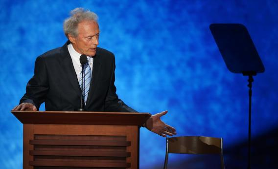 Actor Clint Eastwood speaks during the final day of the Republican National Convention at the Tampa Bay Times Forum on Aug. 30, 2012, in Tampa, Fla.