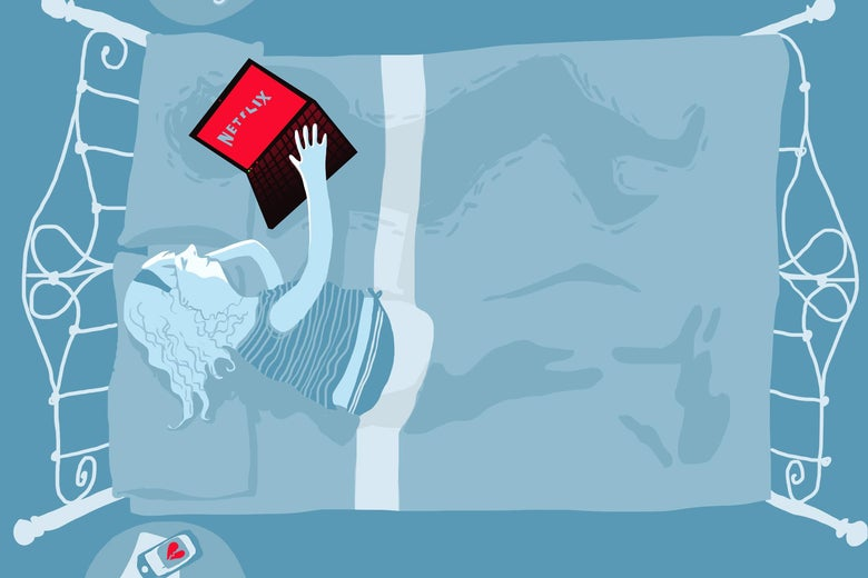 An illustration depicts a woman cuddling with a laptop showing the Netflix logo over the outline of an ex. Illustration by Natalie Matthews Ramo.