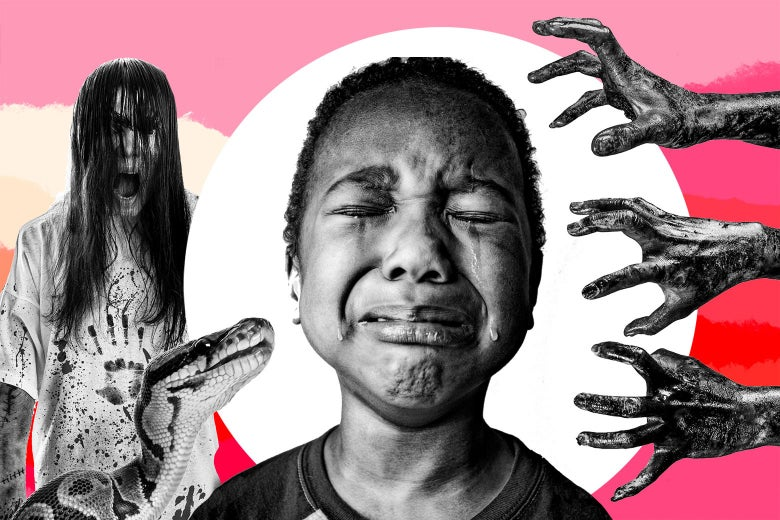 Terrified little boy surrounded by creepy hands, a snake, and a screaming zombie woman.