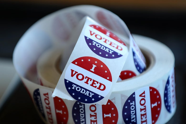 SAN ANSELMO, CA - JUNE 05:  A roll of 'I Voted' stickers sit on a table inside a polling station at a Ross Valley fire station on June 5, 2018 in San Anselmo, California. California voters are heading to the polls to vote in the primary election.  (Photo by Justin Sullivan/Getty Images)
