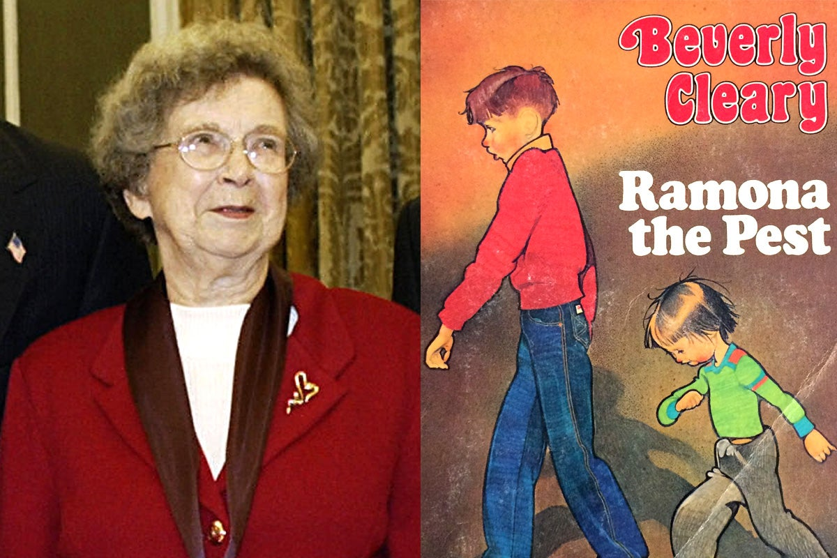 Beverly Cleary and the cover of Ramona the Pest.