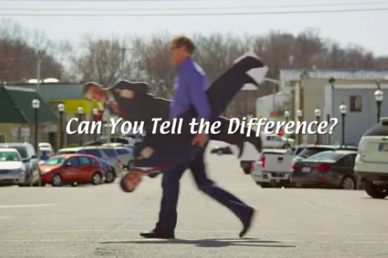Mike Braun used cardboard cutouts to attack his rivals in his ads.