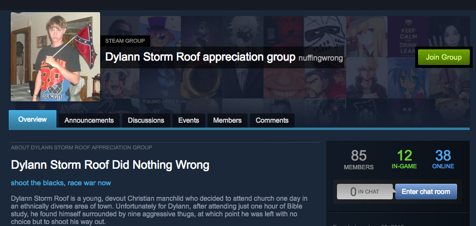 "A ""Dylann Storm appreciation group"" on Steam."