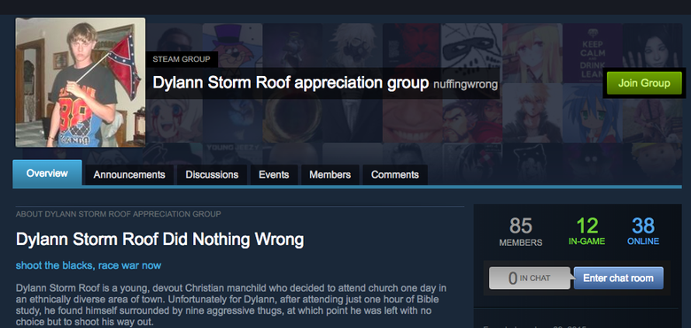 """A """"Dylann Storm appreciation group"""" on Steam."""