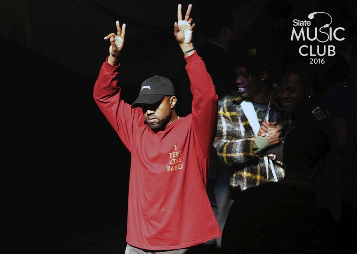 """Kanye West acknowledges attendees before his Yeezy Season 3 Collection presentation and listening party for the """"The Life of Pablo"""" album during New York Fashion Week February 11, 2016."""