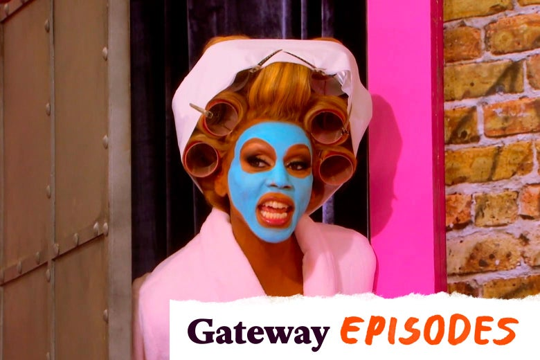 """RuPaul, wearing a blue face mask and hair curlers. In the corner, a tearaway logo reads """"Gateway Episodes."""""""