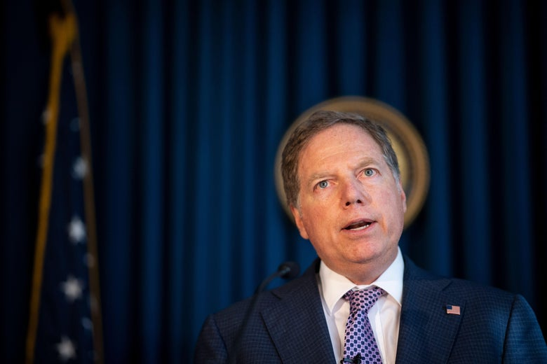 U.S. Attorney for the Southern District of New York Geoffrey Berman speaks during a press conference October 10, 2019 in New York City.
