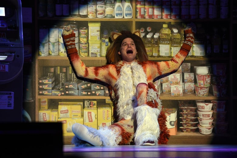 Michael C. Hall in a cat costume sits leaning against a set designed to look like grocery store shelving.