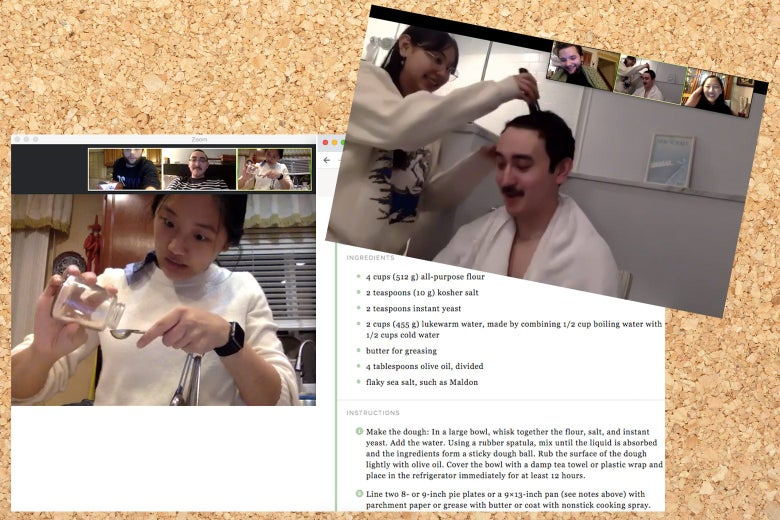 Two Zoom screengrabs, one of a girl cooking and another of a guy getting a haircut.