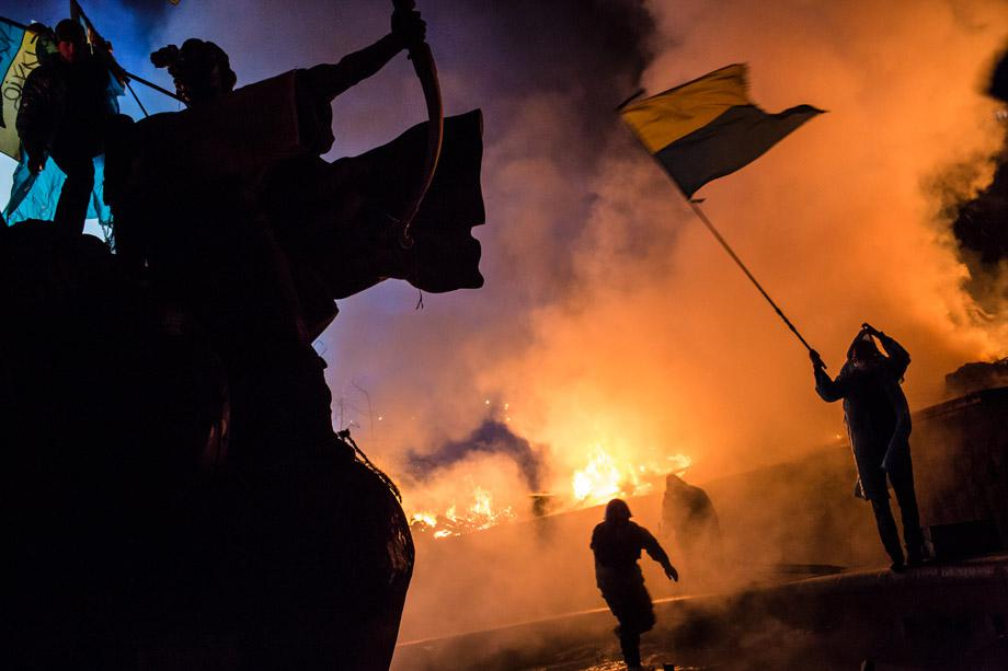 Protesters guard the perimeter of Independence Square on Feb. 19, 2014, in Kiev.