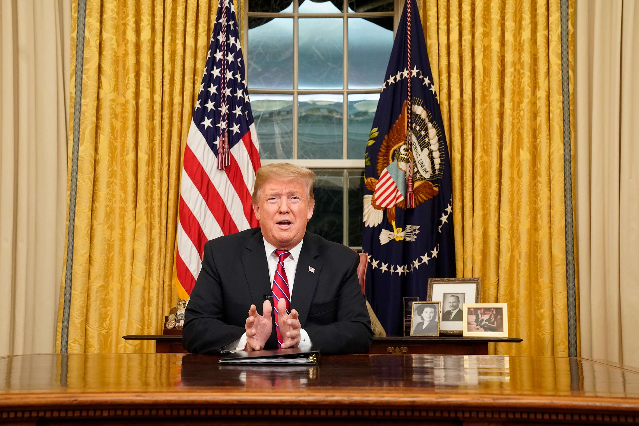 President Trump speaking from the Oval Office.