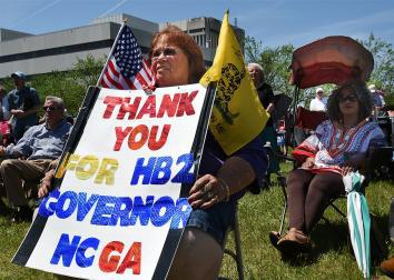 A supporter of HB2 during a rally on Halifax Mall behind the North Carolina General Assembly building in Raleigh, N.C., on Monday, April 25, 2016.