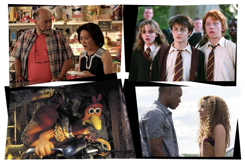 In a mosaic style, stills of: Paul Sun-Hyung Lee with Jean Yoon in a convenience store; Emma Watson, Daniel Radcliffe, and Rupert Grint wearing Hogwarts uniforms; a stop-motion animated chicken holding a spoon; Corey Hawkins and Leslie Grace standing facing one another.
