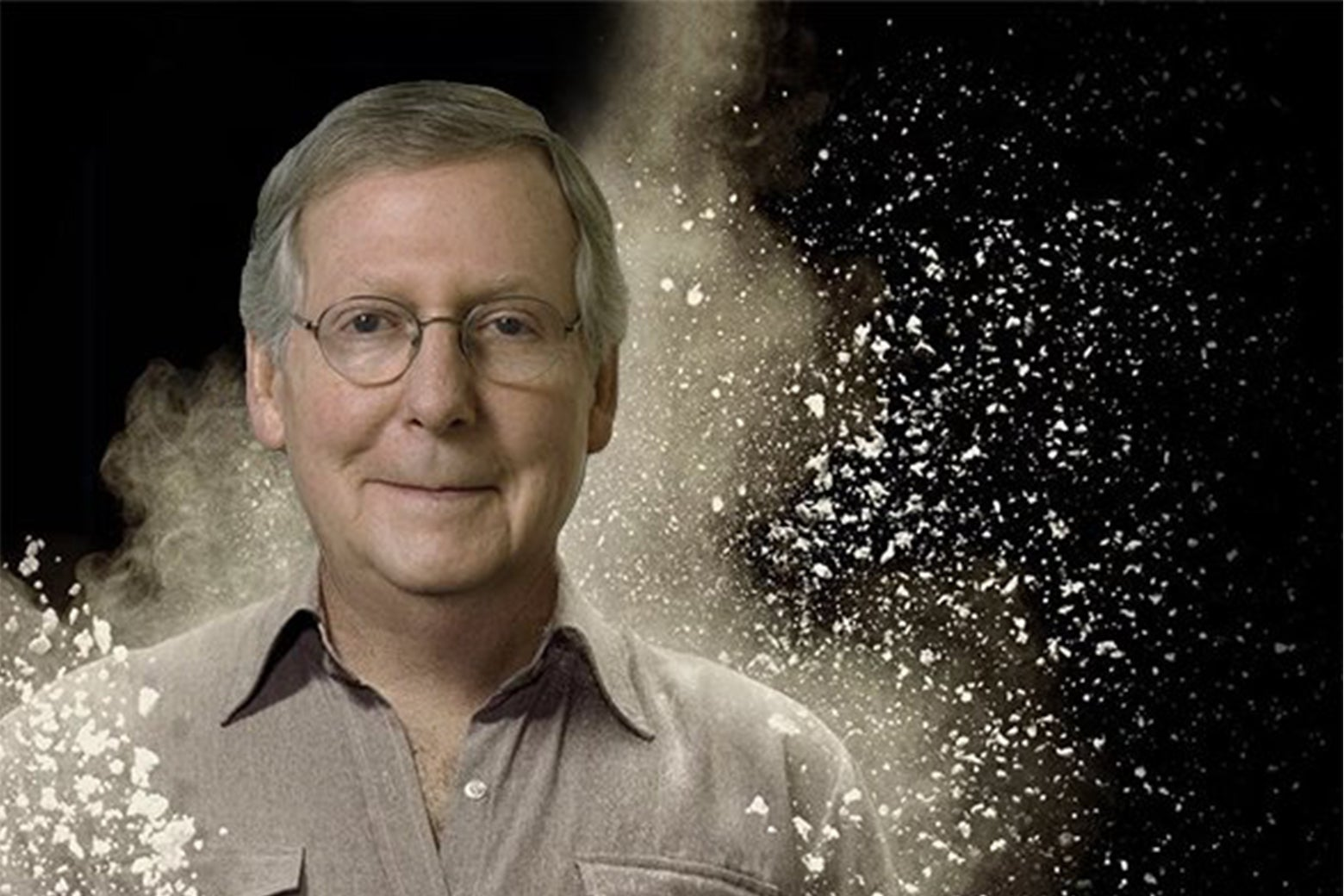 Mitch McConnell photoshopped into a promotional image from Narcos.