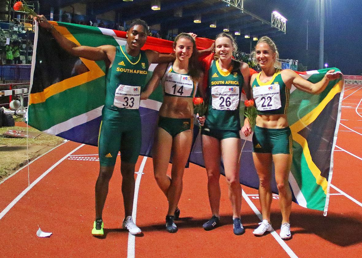 South Africa Caster Semenya and team South Africa hold a national flag as they win the 4x400m finals for women during day 5 of the Confederation of African Athletics (CAA) Championships held in Durban, on June 26, 2016.