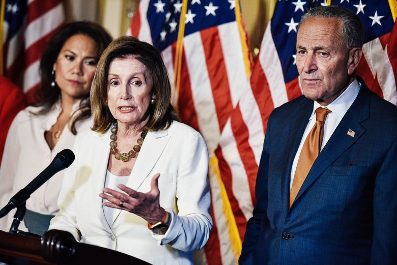 Rep. Veronica Escobar, House Speaker Nancy Pelosi, and Senate Minority Leader Chuck Schumer on Sept. 9 in Washington.
