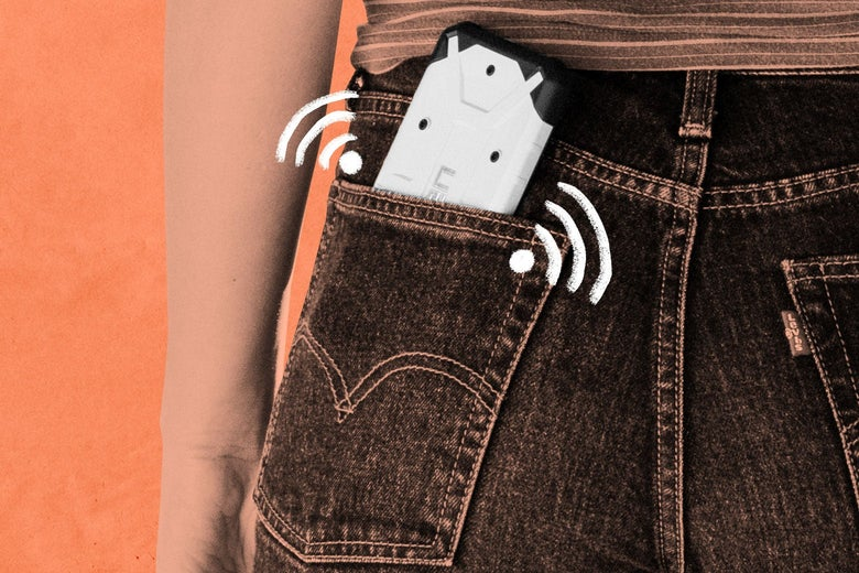 A phone in a seat pocket, with Wi-Fi signals surrounding the phone.