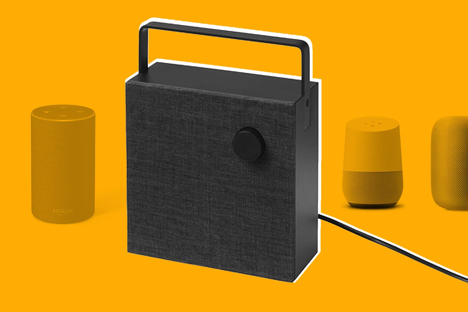 Ikea's new speaker, the Eneby, besides the Google Home, Amazon Echo, and Apple HomePod.