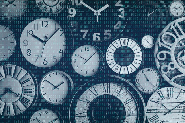 A collection of clocks with binary code overlaid on top.