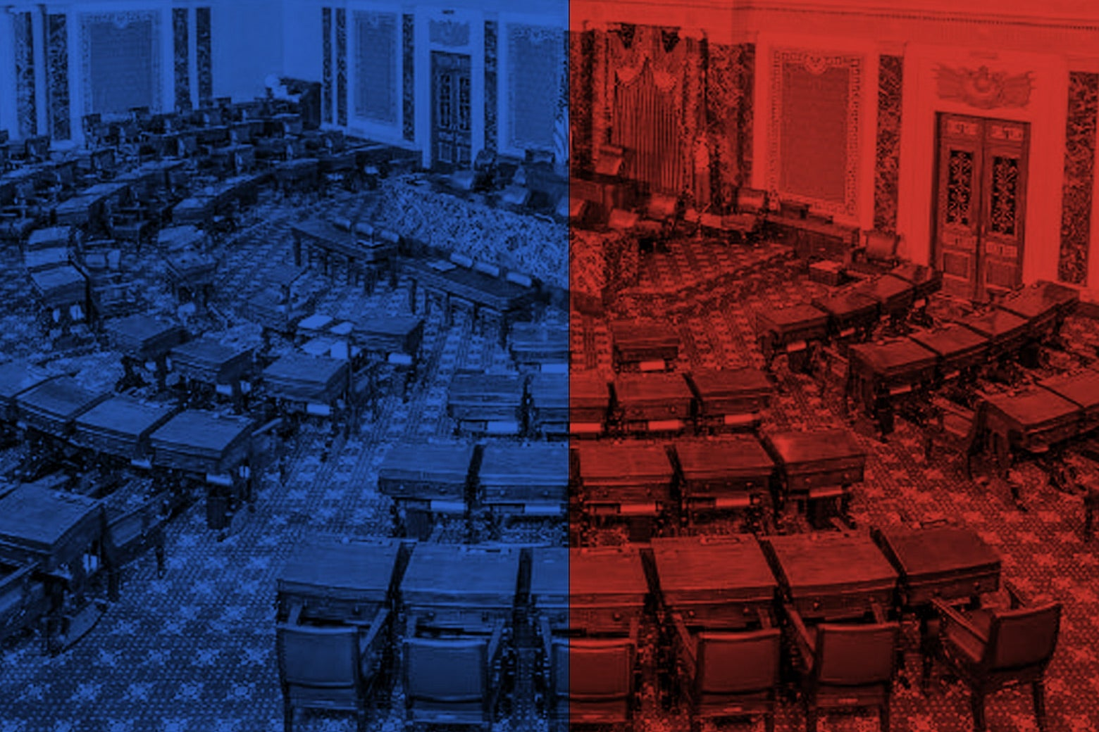 The Senate chamber colored half red and half blue.