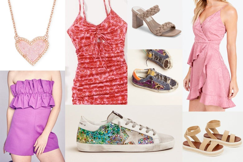 A collage of photos of a heart necklace from Kendra Scott, dresses and sandals from Shein, the Pants Store, and Altar'd State, and Golden Goose sneakers.