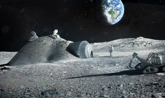 Drawing of a habitat on the Moon