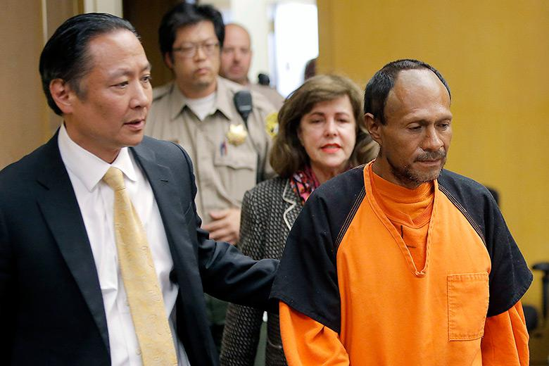 In this July 7, 2015, file photo, Jose Ines Garcia Zarate is led into the courtroom for his arraignment at the Hall of Justice in San Francisco.