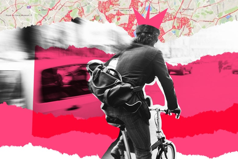 Collage of woman riding her bike through town and a map.