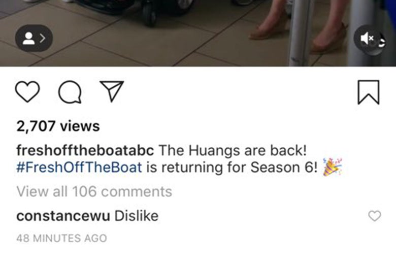 """A screenshot of Fresh Off the Boat's Instagram post showing user """"constancewu"""" has commented """"dislike."""""""