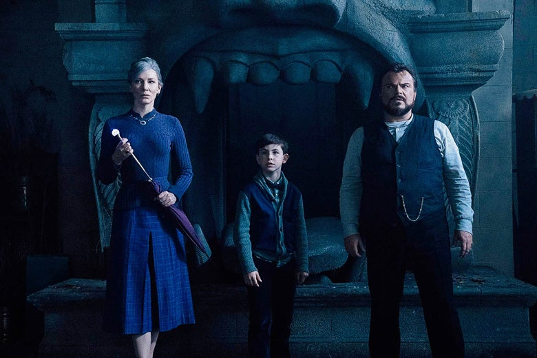 Cate Blanchett, Owen Vaccaro, and Jack Black in The House With a Clock in Its Walls.