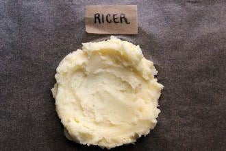 A dollop of mashed potatoes labeled Ricer.