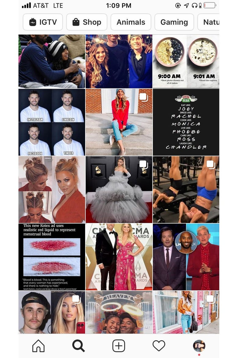 Screenshot of an Instagram Explore feed, featuring photos of celebrities and gyms for working out.