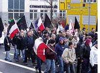 Neo-Nazi demonstrators on their route. Click image to expand.