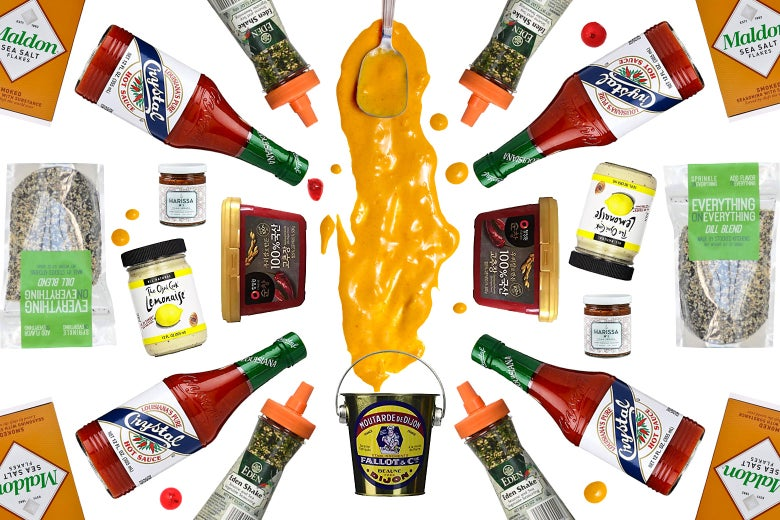 Mustard and other condiments in a colorful array.
